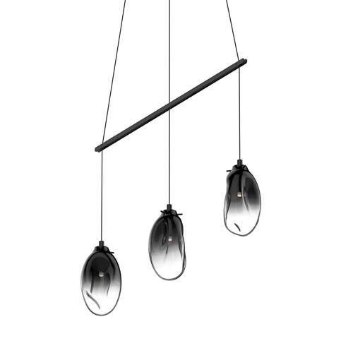 SONNEMAN Liquid Satin Black Three-Light Linear Spreader LED Pendant with Smoke Fade Glass Shade