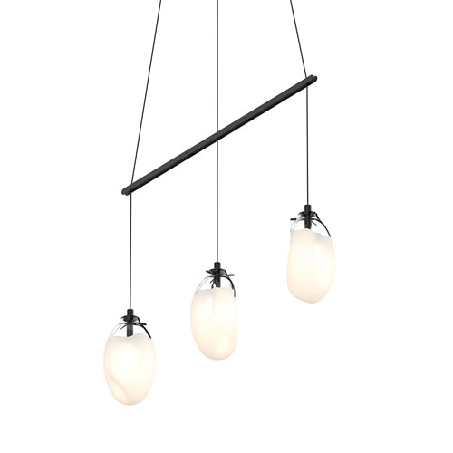 Liquid Satin Black Three-Light Linear Spreader LED Pendant with Poured White Glass Shade