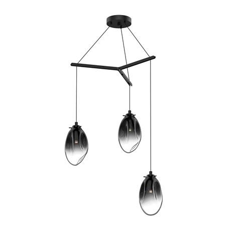 SONNEMAN Liquid Satin Black Three-Light Tri-Spreader LED Pendant with Smoke Fade Glass Shade