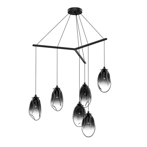 Liquid Satin Black Six-Light Tri-Spreader LED Pendant with Smoke Fade Glass Shade