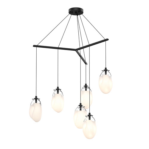 Liquid Satin Black Six-Light Tri-Spreader LED Pendant with Poured White Glass Shade