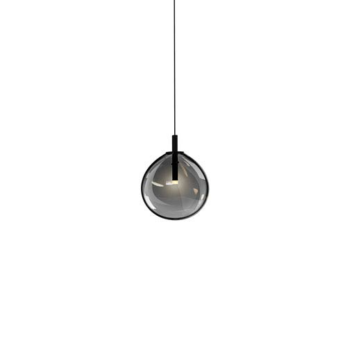 Cantina Satin Black Small LED Mini Pendant with Smoke Fade Glass Shade