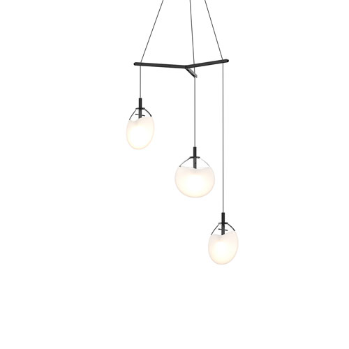 Cantina Satin Black 3-Light Small Tri-Spreader LED Pendant with Poured White Glass Shade