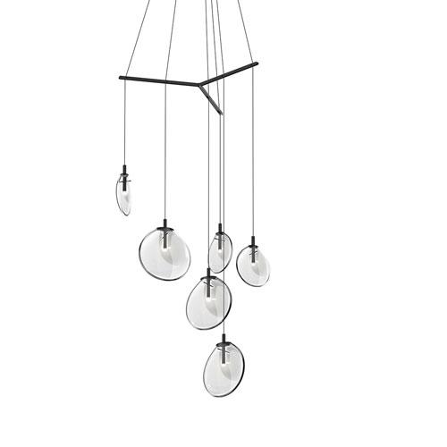 SONNEMAN Cantina Satin Black 6-Light Tri-Spreader LED Pendant with Clear Glass Shade