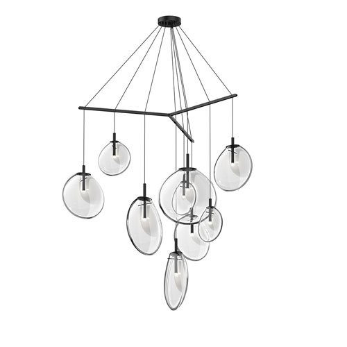 SONNEMAN Cantina Satin Black 9-Light Tri-Spreader LED Pendant with Clear Glass Shade