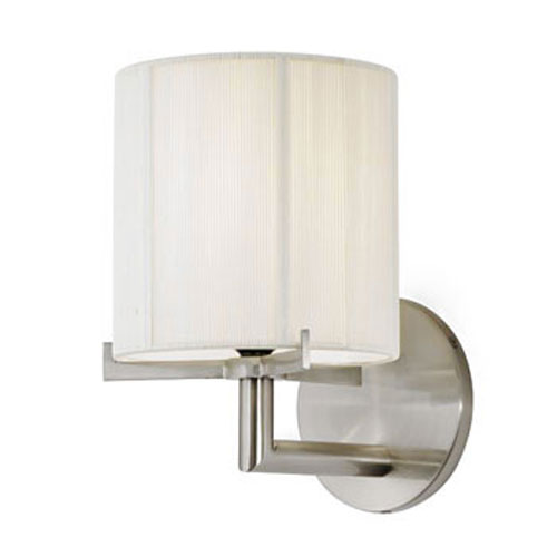 SONNEMAN Boxus One-Light - Satin Nickel with Off - White Silk String Shade - Wall Sconce