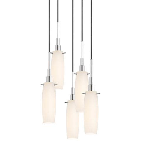 SONNEMAN Candela Polished Chrome Five-Light Tulip Pendant with White Etched Cased Shade