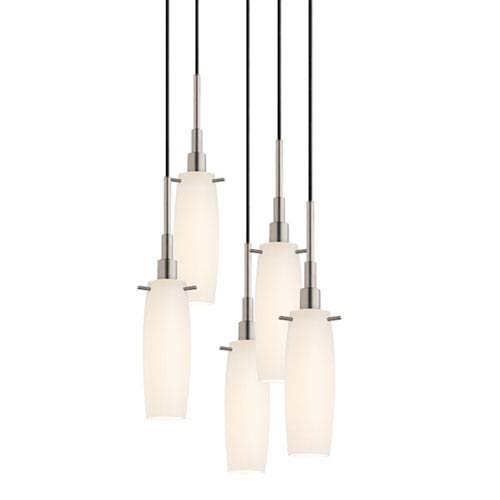 SONNEMAN Candela Satin Nickel Five-Light Tulip Pendant with White Etched Cased Shade