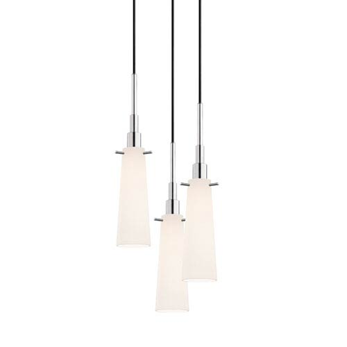 SONNEMAN Candela Polished Chrome Three-Light Tapered Pendant with White Etched Cased Shade