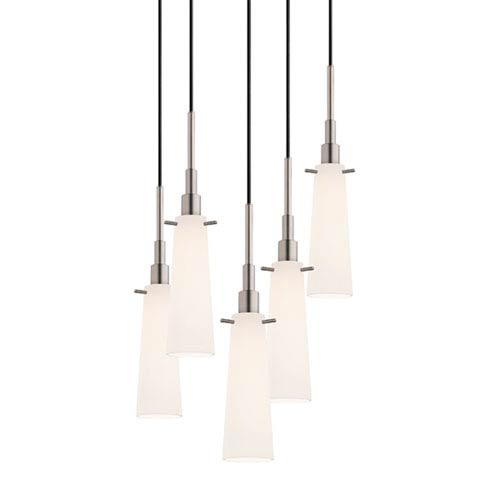 Candela Satin Nickel Five-Light Tapered Pendant with White Etched Cased Shade