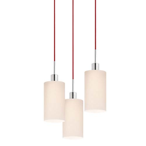 SONNEMAN Three-Light Polished Chrome Cylinder Pendant with Red Cord and White Etched Cased Shade