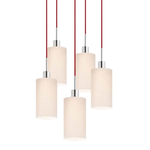 SONNEMAN Five-Light Polished Chrome Cylinder Pendant with Red Cord and White Etched Cased Shade