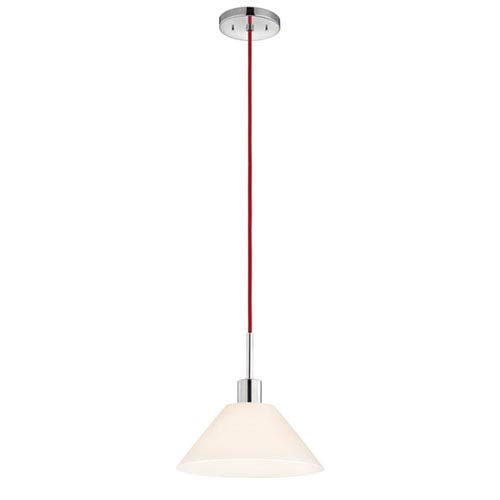 SONNEMAN Polished Chrome One-Light Cone Pendant with Red Cord and White Etched Cased Shade