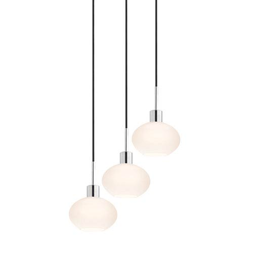 SONNEMAN Three-Light Polished Chrome Demi Pendant with Black Cord and White Etched Cased Shade