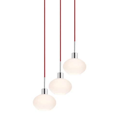 SONNEMAN Three-Light Polished Chrome Demi Pendant with Red Cord and White Etched Cased Shade