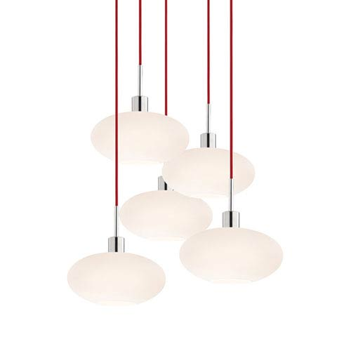 SONNEMAN Five-Light Polished Chrome Oval Pendant with Red Cord and White Etched Cased Shade