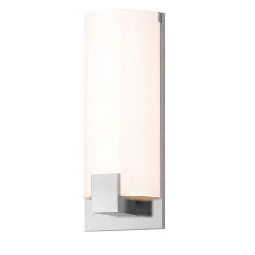 Tangent Satin Chrome Three-Light Square Wall Sconce with White Shade