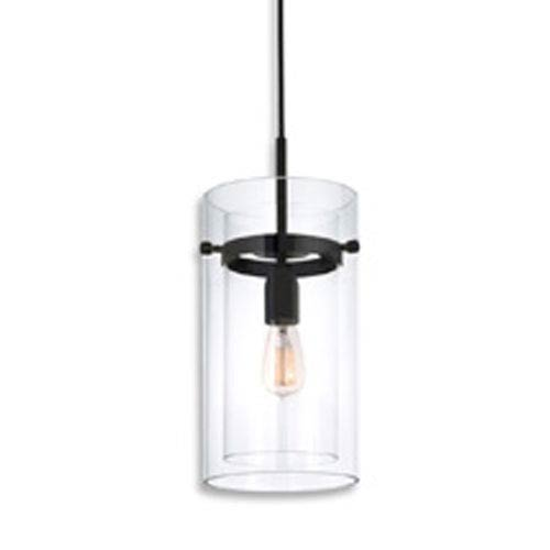 Bleecker Street One-Light - Satin Black with Clear Glass - Mini-Pendant