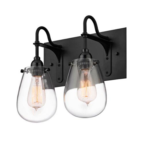 Chelsea Satin Black 12.25-Inch Two Light Bath Fixture with Clear Glass