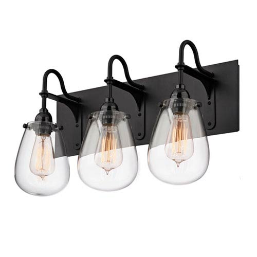 SONNEMAN Chelsea Satin Black 19.25-Inch Three Light Bath Fixture with Clear Glass