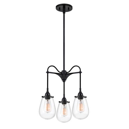 Chelsea Satin Black Three-Light Three-Arm Pendant with Clear Shade