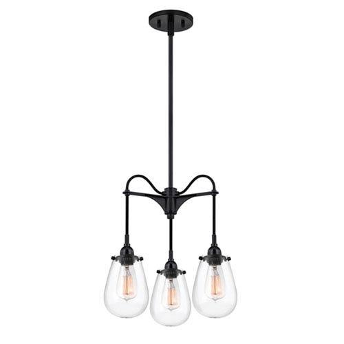 Multiple light 2 or 3 mini pendant lighting free shipping bellacor chelsea satin black three light three arm pendant with clear shade aloadofball Gallery