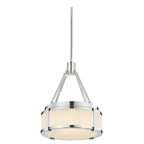 SONNEMAN Roxy Polished Nickel 12.5-Inch Two Light Pendant with Etched Fluted Glass
