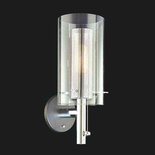 Zylinder Satin Black with Chrome Wall Sconce