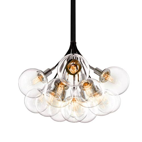 Orb Polished Chrome 13-Light Cluster Pendant