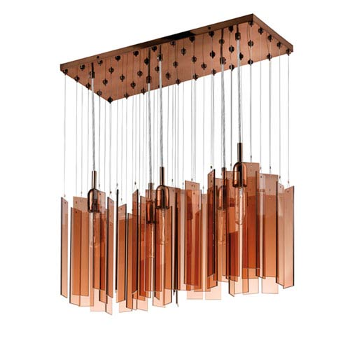 Chimes Polished Bronze Five-Light Rectangle Pendant with Bronze Shade