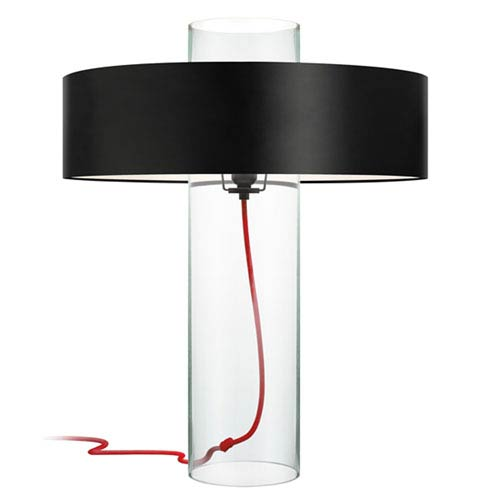 SONNEMAN Level Clear Glass One-Light Table Lamp with Black Shade