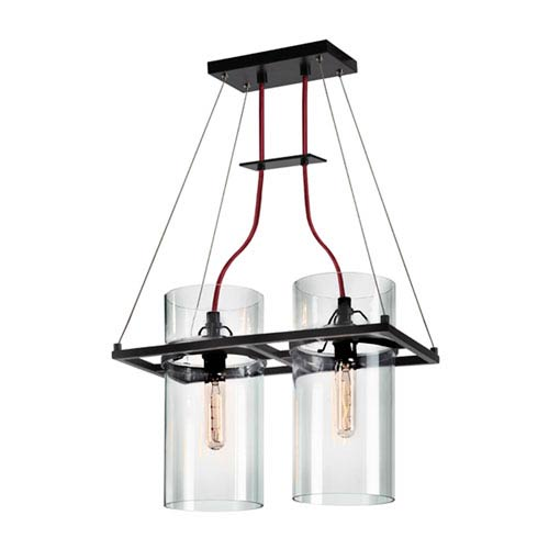 Square Ring Satin Black Two Light with Clear Glass