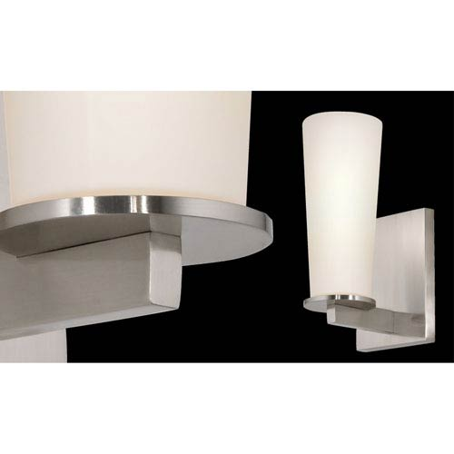 SONNEMAN High Line One-Light - Satin Nickel with White Etched Cased Glass - Wall Sconce