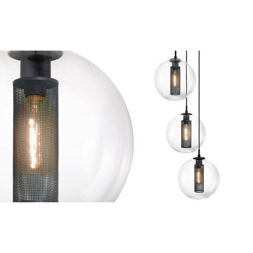 SONNEMAN Tribeca 12 Inch Three-Light - Textured Black with Clear Glass - Pendant