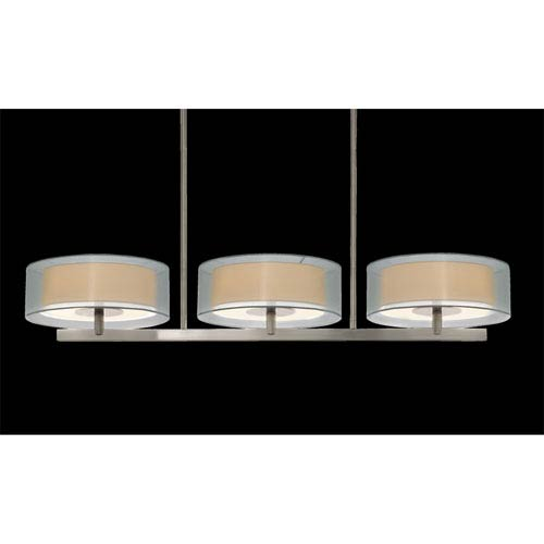 SONNEMAN Puri Six-Light - Satin Nickel with Silver Organza Shade - Pendant