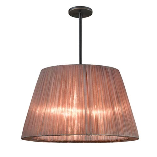 Organza Wrap Black Brass Three-Light Tapered Drum Pendant with Wrapped Bronze Shade