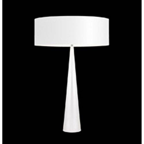 SONNEMAN Big Table Cone Satin White Three-Light Table Lamp with White Shade