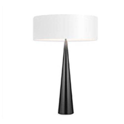 SONNEMAN Big Table Cone Satin Black Three-Light Table Lamp with White Shade