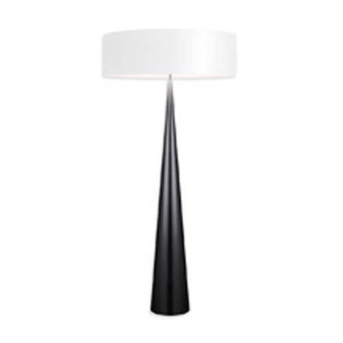 SONNEMAN Big Floor Cone Satin Black Three-Light Floor Lamp with White Shade