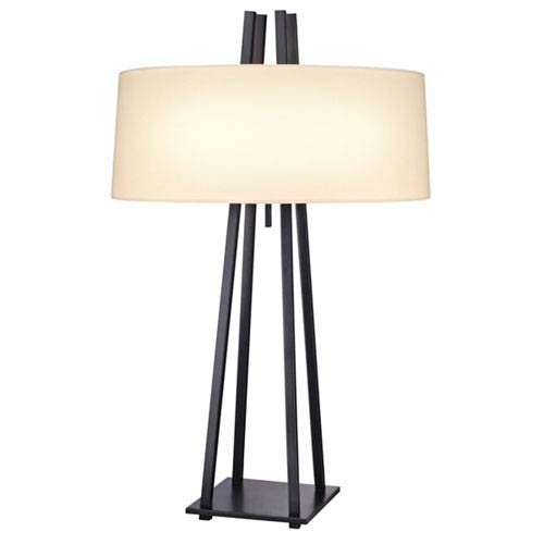 SONNEMAN West 12th Anthracite Two-Light Table Lamp with Off-White Shade