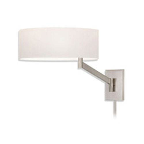 SONNEMAN Perch One-Light - Satin Nickel with White Cotton Shade - Swing Arm Wall Lamp