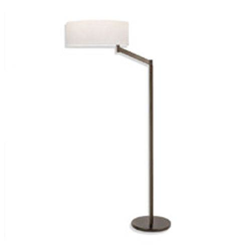 Perch One-Light - Coffee Bronze with White Cotton Shade - Swing Arm Floor Lamp