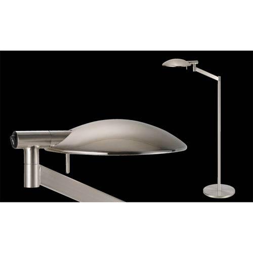Perch Pharmacy One-Light - Satin Nickel with Satin Nickel Metal Shade - Swing Arm Floor Lamp