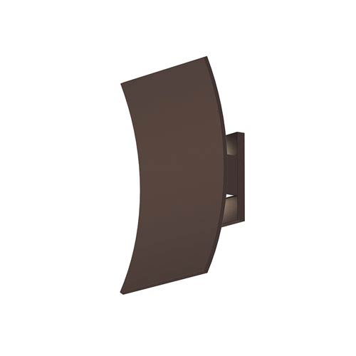 Inside-Out Curved Shield Textured Bronze LED Wall Sconce