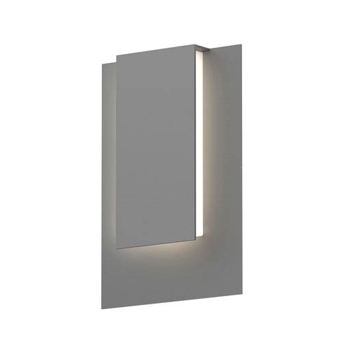 Inside-Out Reveal Textured Gray Short LED Wall Sconce with White Optical Acrylic Diffuser
