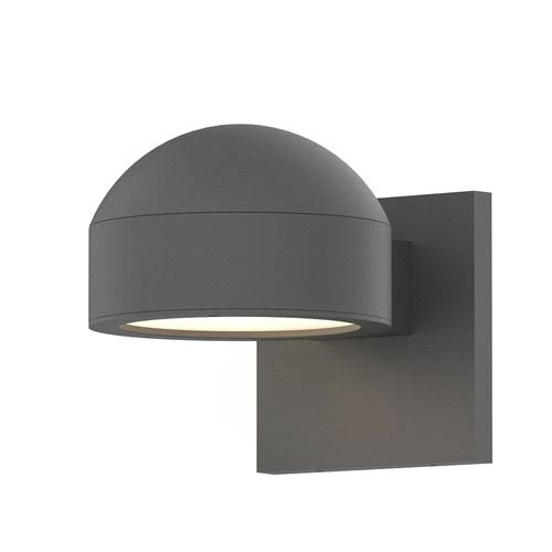 Inside-Out REALS Textured Gray Downlight LED Sconce with Plate Lens and Dome Cap with Frosted White Lens