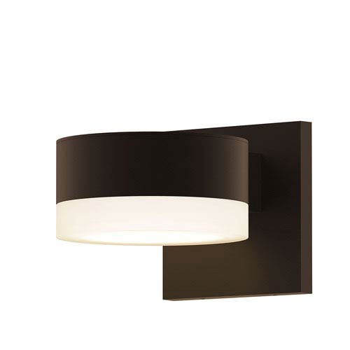 Inside-Out REALS Textured Bronze Cylinder Lens and Plate Cap LED Wall Sconce with Frosted White Lens