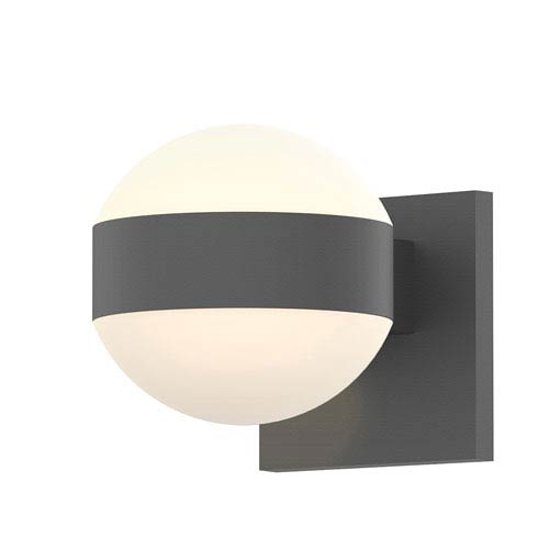 SONNEMAN Inside-Out REALS Textured Gray Up Down LED Sconce with Dome Lens and Dome Cap with Frosted White Lens
