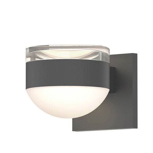 Inside-Out REALS Textured Gray Up Down LED Sconce with Dome Lens and Cylinder Cap - Clear Cap with Frosted White Lens