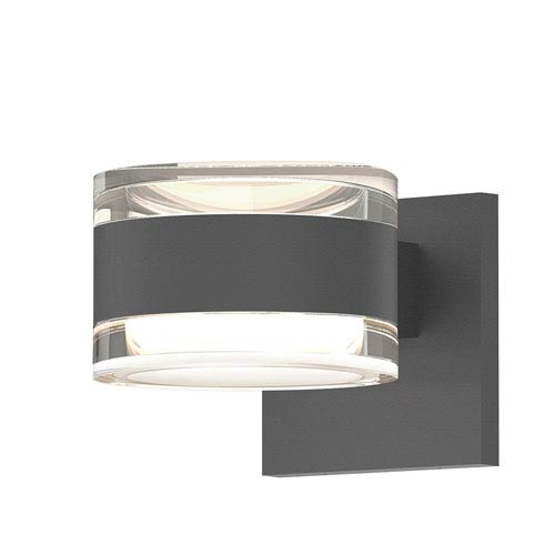 Inside-Out REALS Textured Gray Up Down LED Sconce with Cylinder Lens and Cylinder Cap - Clear Cap with Clear Lens